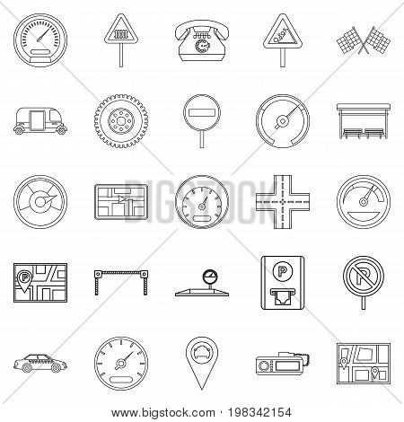 Engine icons set. Outline set of 25 engine vector icons for web isolated on white background