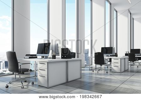 White Open Office Environment, Corner Close Up