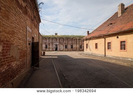 Terezin Czech Republic - July 5 2017: Terezin memorial building block in the former concentration camp. Thousands of Jew people were murdered in the concentration camp Small Fortress by Nazis during WW2.