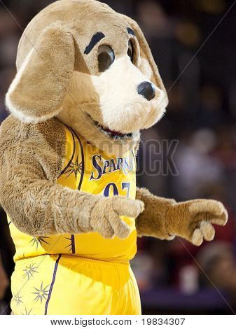 LOS ANGELES, CA. - SEPTEMBER 16: Sparky the team mascott of the Sparks getting the crowd involved during the WNBA playoff game of the Sparks vs. Storm on September 16, 2009 in Los Angeles.