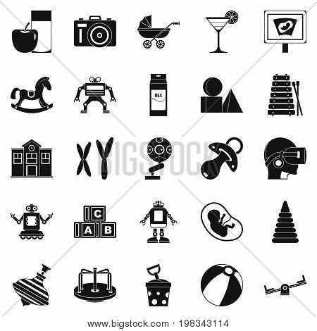 Great childhood icons set. Simple set of 25 great childhood vector icons for web isolated on white background