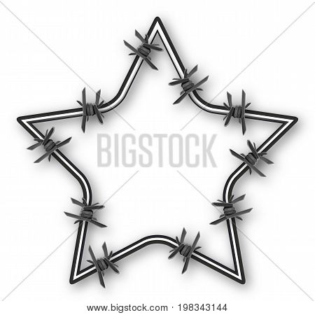 Star with barbed wire, vector art illustration.