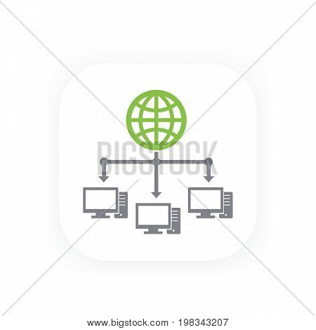 computer network and internet vector icon, eps 10 file, easy to edit