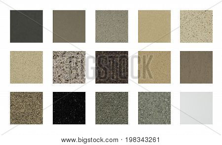 Kitchen Granite countertops. Kitchen granite countertops color samples. Modern kitchen countertops. Colorfull kitchen granite countertops squares. Countertops concept. Granite Stone.