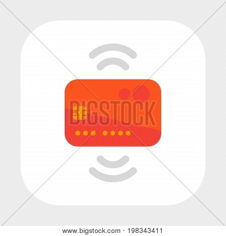 Contactless credit card icon, flat style, eps 10 file, easy to edit