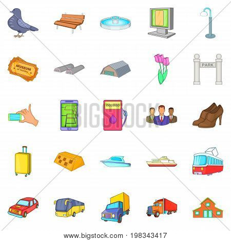 City transport icons set. Cartoon set of 25 city transport vector icons for web isolated on white background
