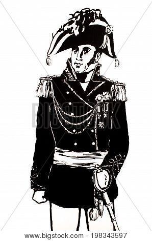 Badajoz Spain - june 20 2017: General Menacho figure. Prominent historic people born in Badajoz Luis de Morales Museum