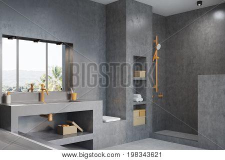 Gray Bathroom With A Window, Side