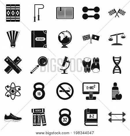 College icons set. Simple set of 25 college vector icons for web isolated on white background