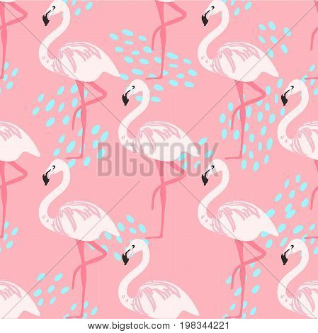 Tropical trendy seamless pattern with pink flamingos. Design for fabric, wallpaper, textile and decor.