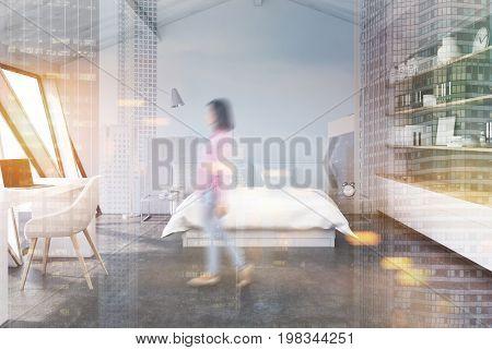 White Bedroom In An Attic, Concrete, Double