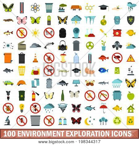 100 environment exploration icons set in flat style for any design vector illustration