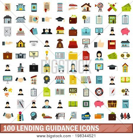 100 lending guidance icons set in flat style for any design vector illustration