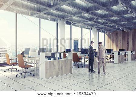 Loft Downtown Office, Beige Chairs, Side, Men