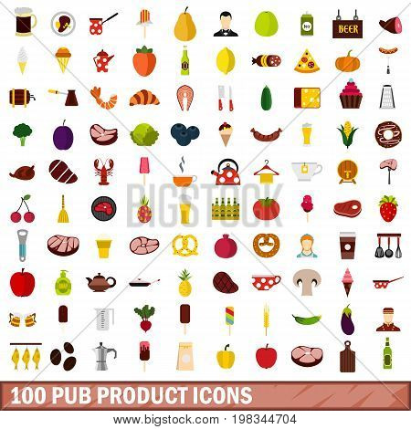 100 pub product icons set in flat style for any design vector illustration