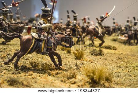 Badajoz Spain - june 20 2017: La Albuera battlefield diorama scene. Luis de Morales Museum