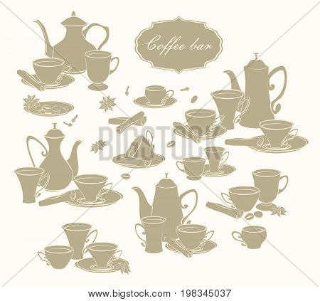 Set of vector elements of coffee pots, cups and spices.