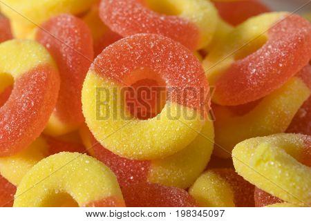 Sweet Sugary Peach Gummy Candy Rings