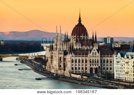 Budapest, Hungary. Aerial view of Budapest, Hungary at sunset. Parliament building with Danube river