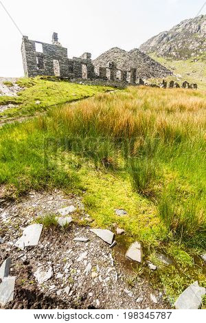Ruined Barracks of slate mine. Cwmorthin Bleneau Ffestiniog Gwynedd Wales United Kingdom.