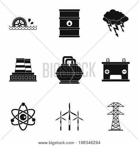 Energy sources icon set. Simple style set of 9 energy sources vector icons for web isolated on white background