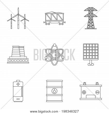 Energy sources icon set. Outline style set of 9 energy sources vector icons for web isolated on white background