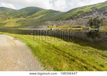 Cwmorthin glacial hanging valley. Cwmorthin Bleneau Ffestiniog Gwynedd Wales United Kingdom. Looking towards slate mine