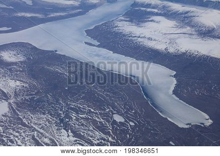 Aerial View of Greenland Glaciers and Icebergs