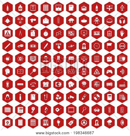 100 information icons set in red hexagon isolated vector illustration