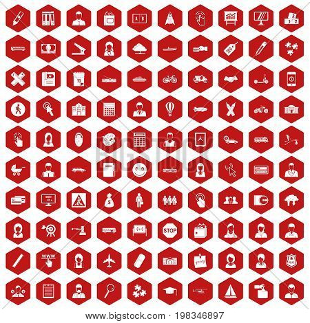100 initiation icons set in red hexagon isolated vector illustration