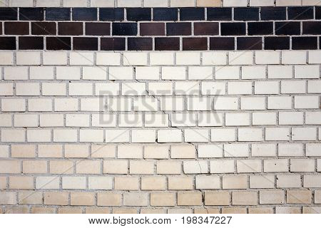Brick Wall Background. Abstract Weathered Textured White Brick Wall Background