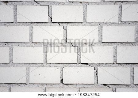 White Brick Wall Background. Abstract Weathered Textured White Brick Wall Background