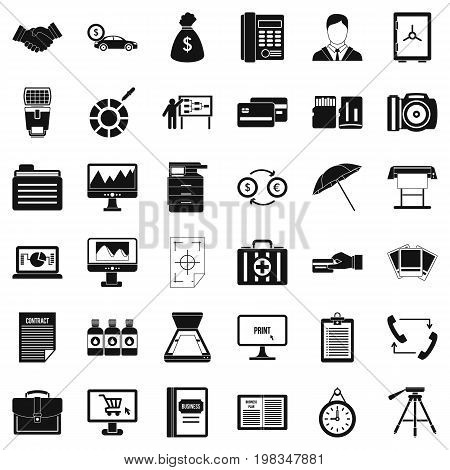 Business department icons set. Simple style of 36 business department vector icons for web isolated on white background