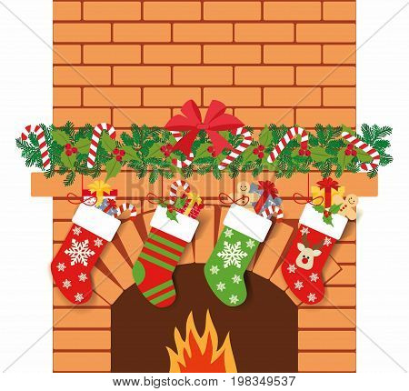 Illustration of Christmas socks with gifts on the background of the fireplace. Christmas background with gifts