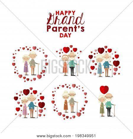 white background set full body elderly couple inlove happy grand parents day vector illustration