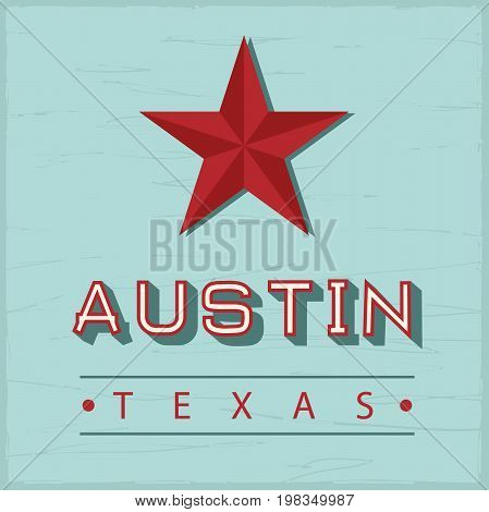 Austin Texas sign with green vintage wood on back