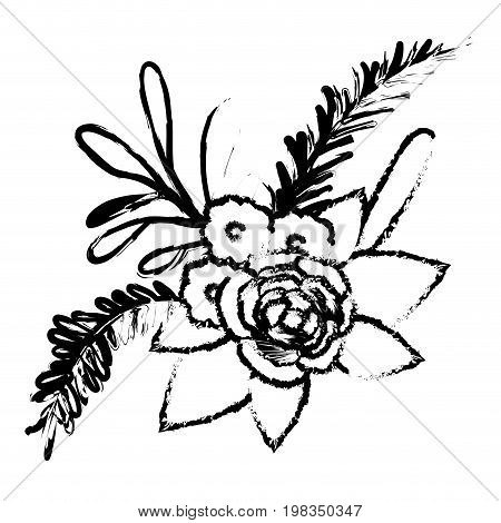 blurred silhouette of floral ornament with several flowers and branches vector illustration