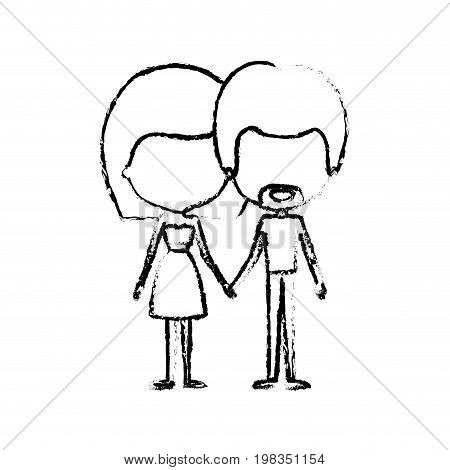 blurred silhouette of caricature faceless thin couple in clothes of bearded man and woman in skirt and top with straight medium hairstyle holding hands vector illustration