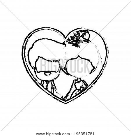 blurred silhouette heart shape with caricature faceless newly married couple inside of bearded groom with formal wear and bride with collected hairstyle and holdings hands vector illustration