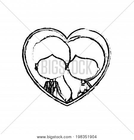 blurred silhouette heart shape with caricature faceless newly married couple inside of newly married couple young groom with formal wear and bride with wavy long hairstyle and holdings hands vector illustration