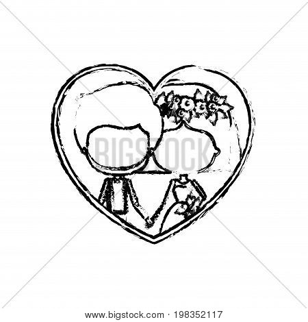 blurred silhouette heart shape with caricature faceless newly married couple inside of newly married couple bearded groom with formal wear and bride with straight short hairstyle and holdings hands vector illustration