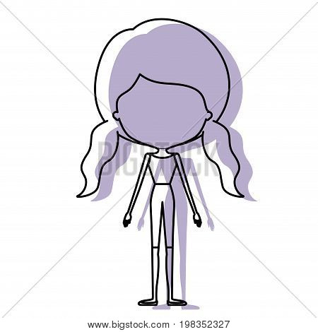 silhouette lilac color shadow of contour caricature faceless skinny woman in clothes with double pigtails hairstyle vector illustration
