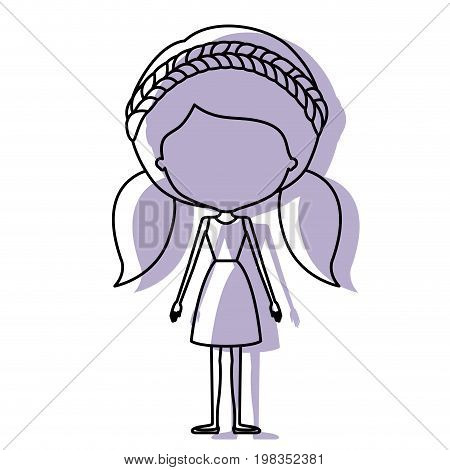 silhouette lilac color shadow of contour caricature faceless skinny woman in dress with double pigtails hairstyle and braid vector illustration