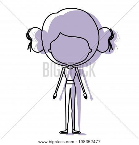 silhouette lilac color shadow of contour caricature faceless skinny woman in clothes with double bun hairstyle vector illustration