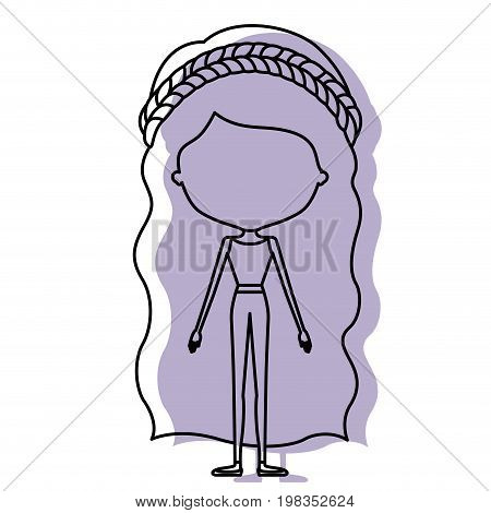 silhouette lilac color shadow of contour caricature faceless skinny woman in clothes with wavy long hairstyle and flower crown accesory vector illustration