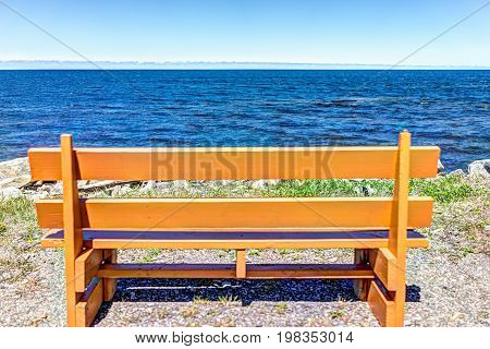 One Vibrant Vivid Empty Orange Bench In Front Of Ocean