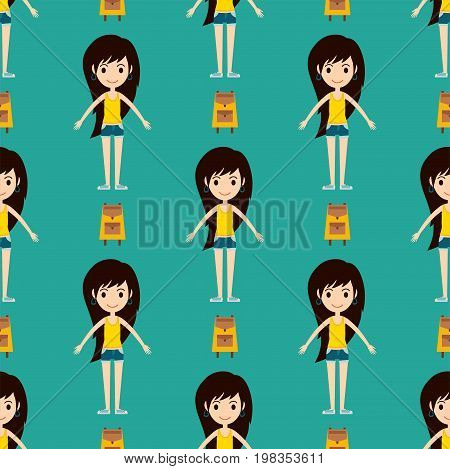 Street fashion girls models wear style seamless pattern fashionable stylish woman characters clothes looks vector illustration. Attractive pretty elegance posing person.