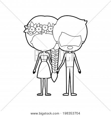 sketch silhouette of caricature faceless thin couple of bearded man and woman in skirt and top braid hairstyle with flower crown and holding hands vector illustration