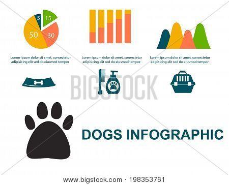 Dachshund dog playing infographic vector elements set flat style symbols puppy domestic animal illustration. Carrying toy pedigree mammal cartoon doggy canine