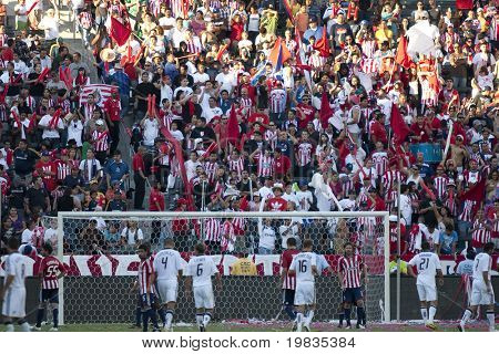 CARSON, CA. - NOVEMBER 1: Chivas fans cheer on Chivas during the MLS conference semifinal match of Chivas USA vs. Los Angeles Galaxy at the Home Depot Center on November 1, 2009 in Carson.